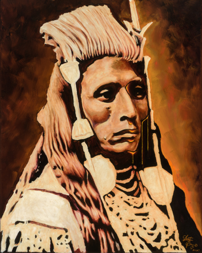 """Medicine Crow 3/4 Profile """"Honor Series"""" Original Oil Painting by Clement Janis-LostBoy Inc Studio"""