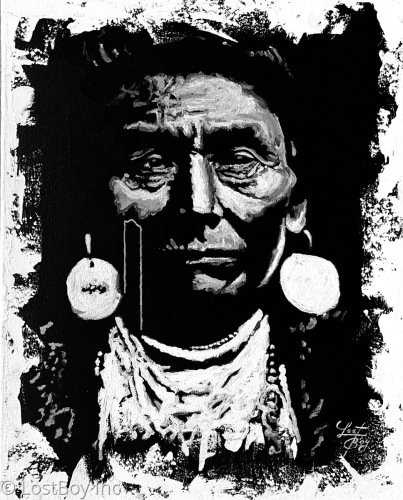 """Chief Joseph-Nez Perce """"Black and White Series"""" Original Acrylic on Canvas by Clement Janis-LostBoy Inc Studio"""