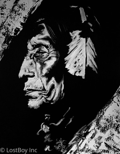 Wolf Robe Black and White Series Original Acrylic Painting
