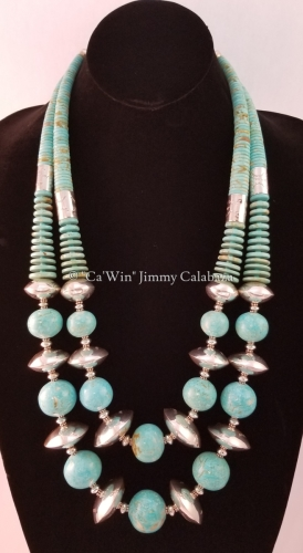 Double Strand Turquoise Spherical and Sterling Silver Bead Necklace by CaWin Jimmy F Calabaza