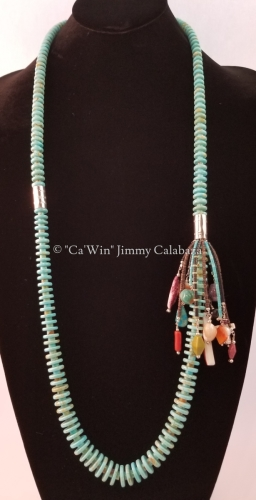 Kingman Turquoise with Side Dangle Necklace by CaWin Jimmy F Calabaza