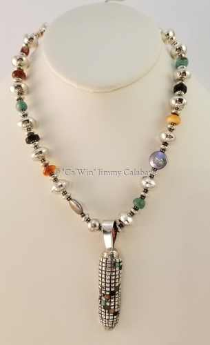Silver Corn Necklace with Sterling Silver Beads and multi stones by CaWin Jimmy F Calabaza