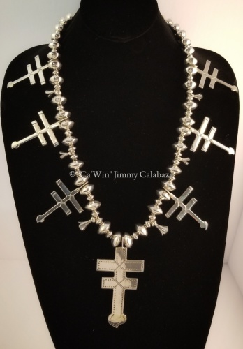 Dragon Fly, Double Bar Cross Necklace by CaWin Jimmy F Calabaza