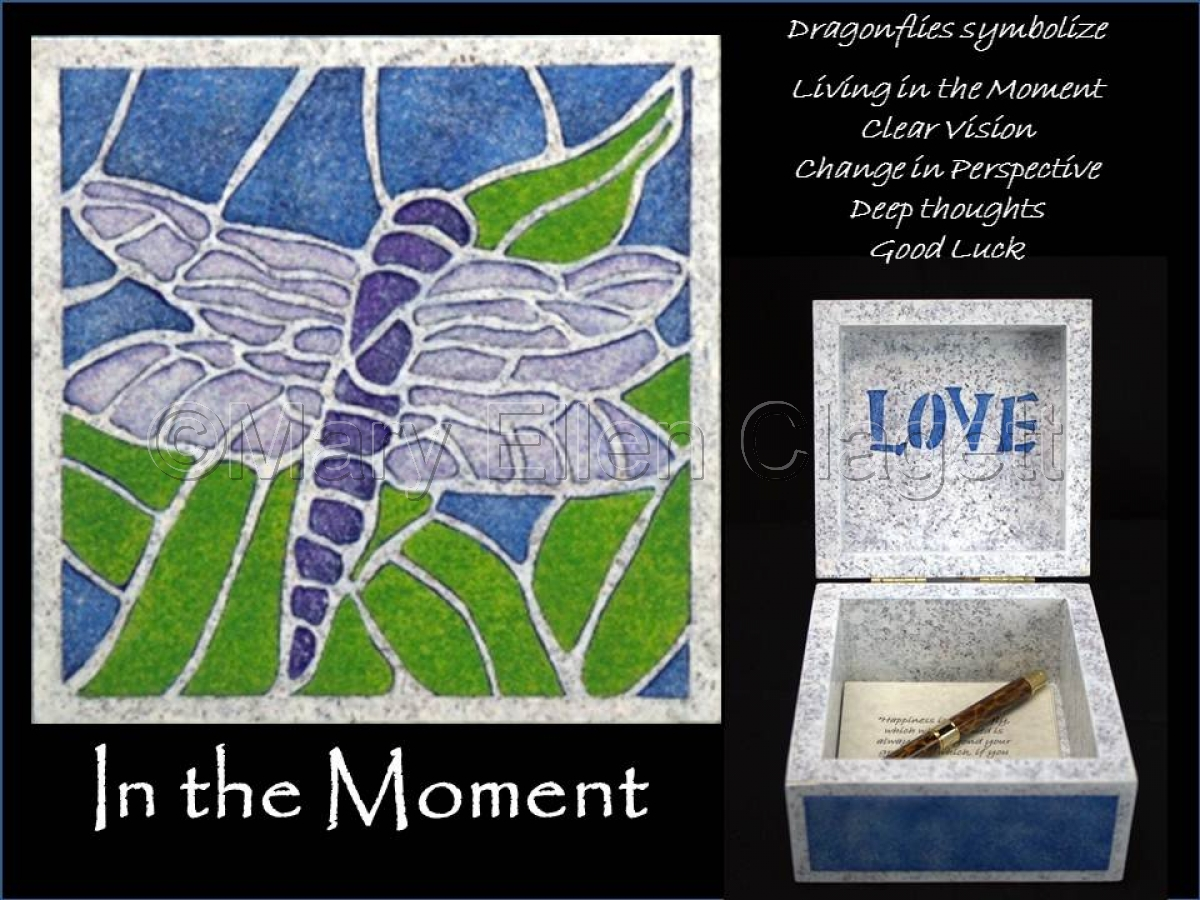 "Dragonfly is painted in mosaic style on top of a 5"" x 5"" wood box. Blessing box has been created to hold your most treasured thoughts and dreams and allow them to multiply. Pen and paper included. (large view)"