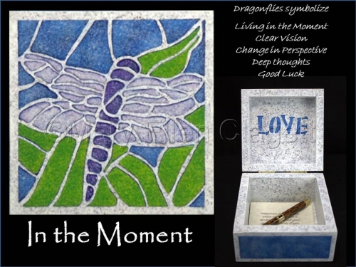 """Dragonfly is painted in mosaic style on top of a 5"""" x 5"""" wood box. Blessing box has been created to hold your most treasured thoughts and dreams and allow them to multiply. Pen and paper included. (large view)"""