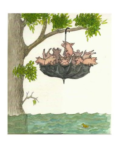 Pigs in an umbrella