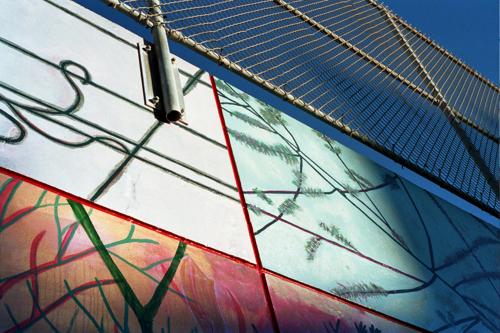 """""""Regarding Here"""" mural detail"""