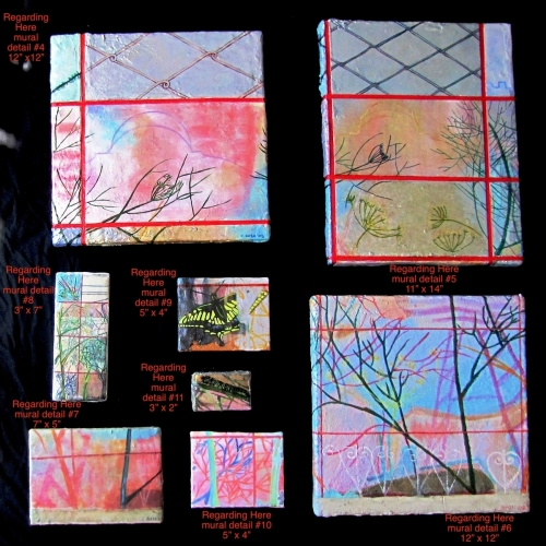 """""""Regarding Here"""" mural detail paintings"""