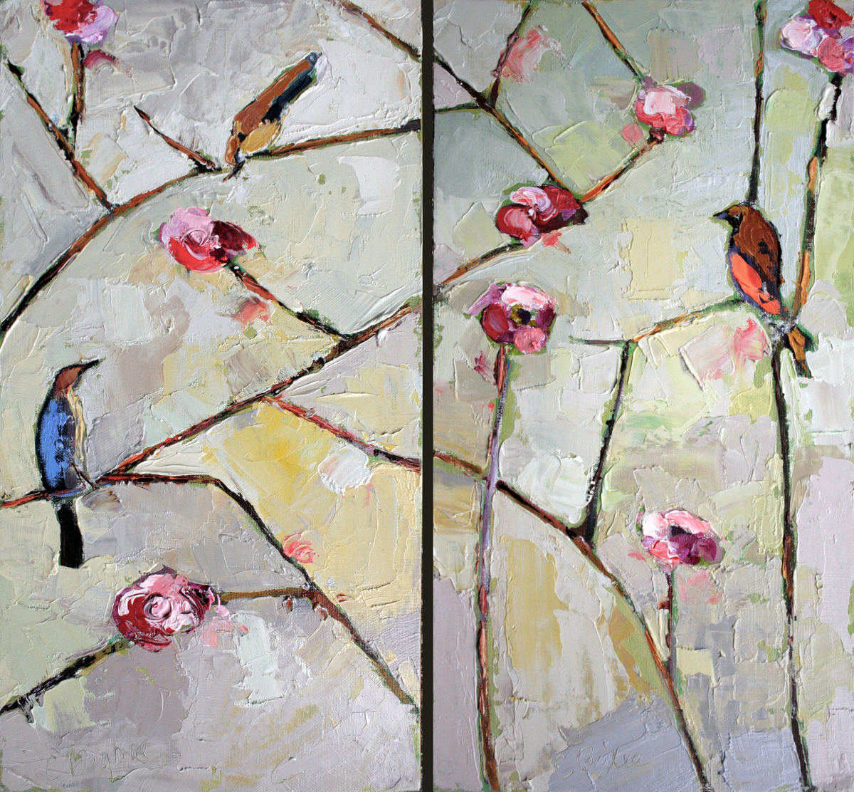 """The Trinity"" Bird Choir Collection #2   Diptych  (large view)"
