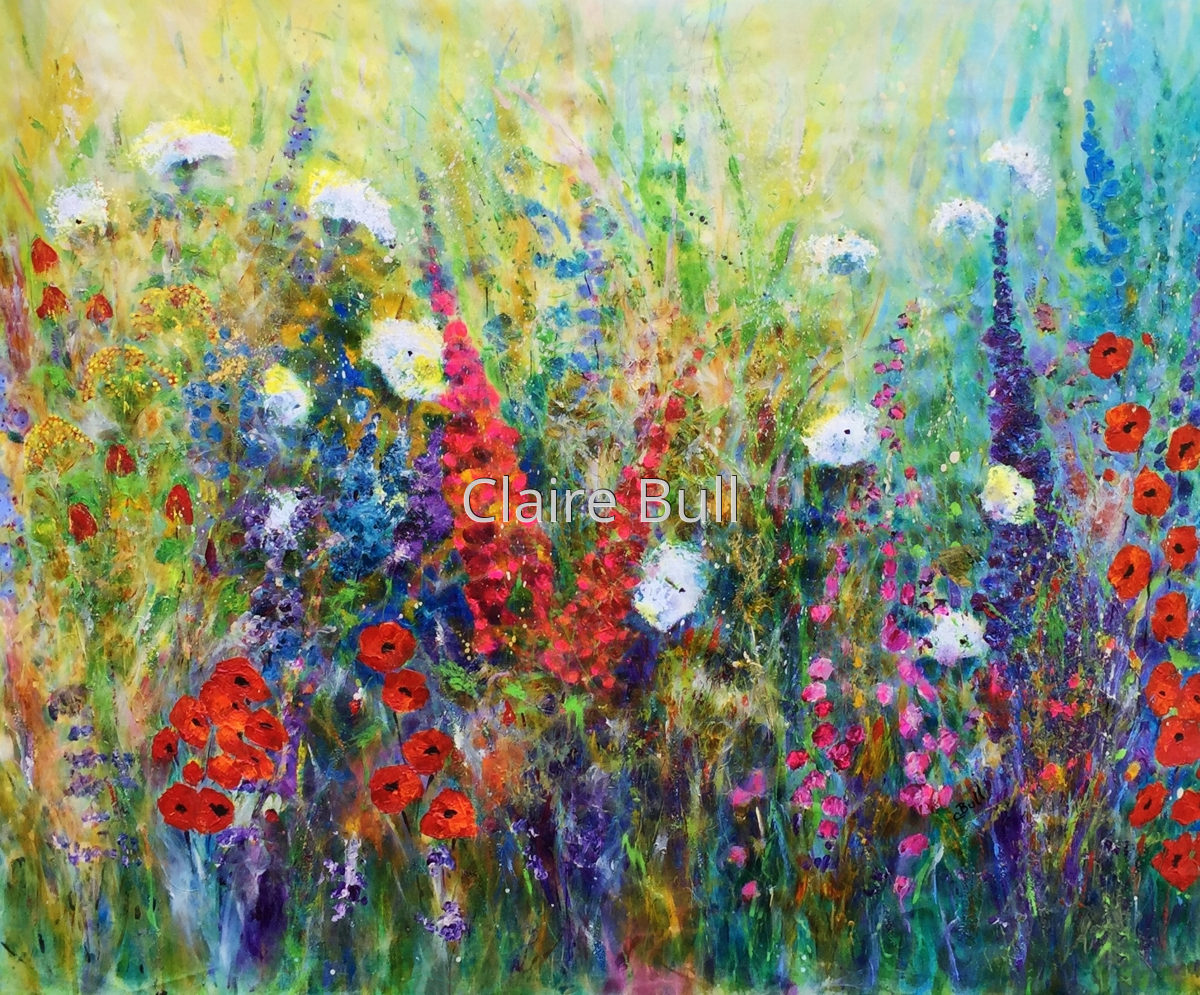 Floral acrylic paintings meadow flowers for you by claire for Floral acrylic paintings