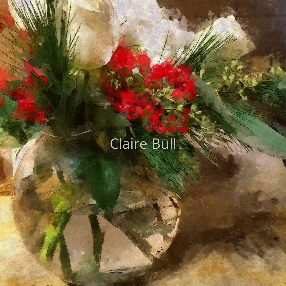 Christmas Flowers in Glass Vase (large view)
