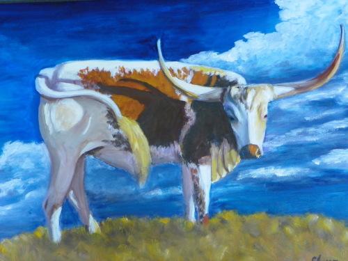 Long Horn Steer by Cora Larson