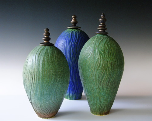 "Carved, Porcelain Bottles,  with finial lids; 11"", 12"" & 13"" (large view)"