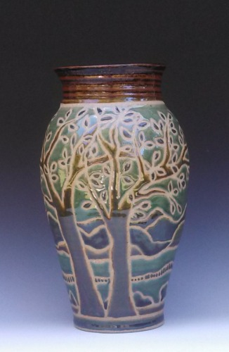Large vase with wax resist tree design (large view)