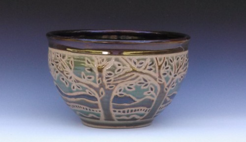 Large bowl with wax resist tree design