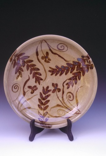Large shallow bowl with painted Leaf design