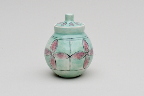 Lidded bowl with flowers