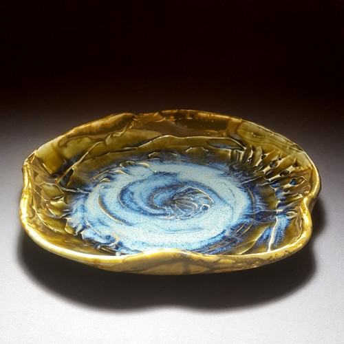 Chambered Evolution Blue Rutile and Salt Buff Platter 1