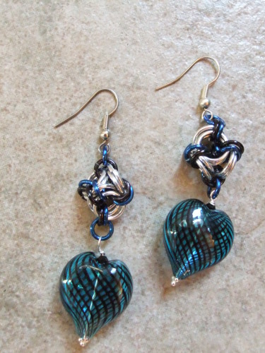 Blue blown glass Hearts (large view)