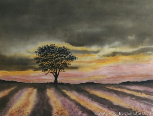 The Lone Tree by Watercolor By Charlotte Leddy