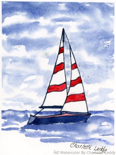 Sailing by Watercolor By Charlotte Leddy