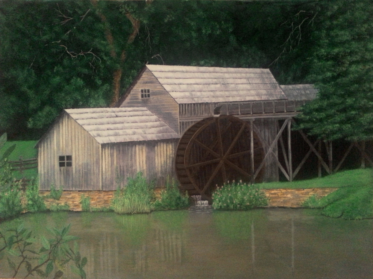 Landscape Acrylic Paintings Old Grist Mill By Cary