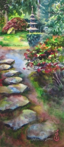 Painting of Japanese Garden by artist Catherine M. James (large view)