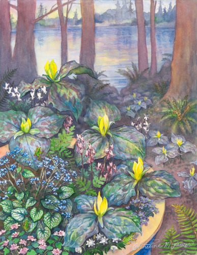 Original Watercolor Painting for Cottage Lake Gardens 2014 Trillium Tours by Artist Catherine M. James (large view)