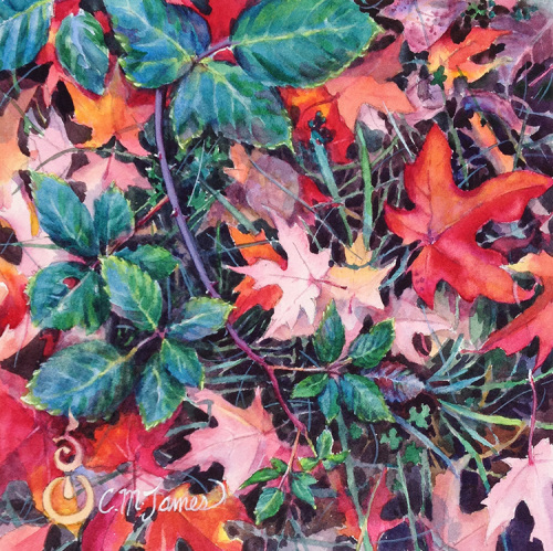 Autumn Study in Red and Green