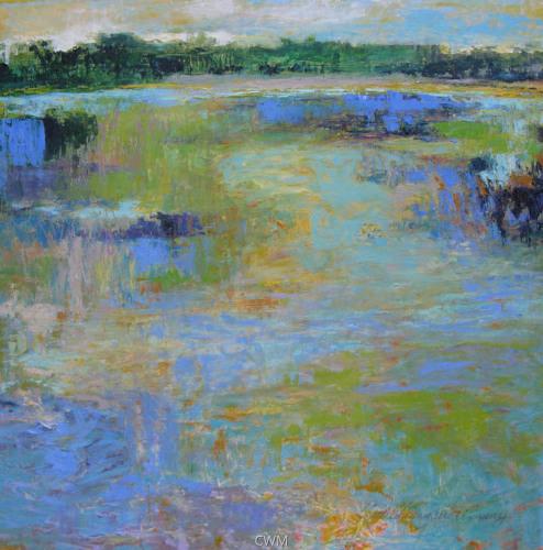 Wetland with Yellow Sky