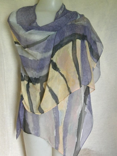 Dramatic Flare in hand painted silk chiffon (large view)