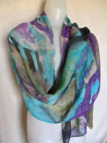 Tropical Island Winds hand painted silk chiffon (large view)