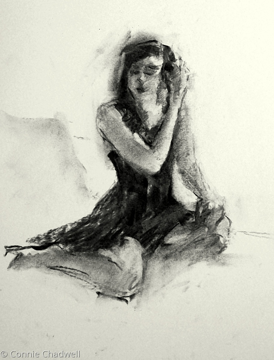 """Seated Figure in Black and White"" (large view)"