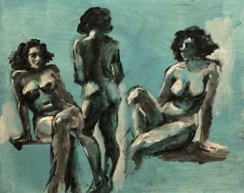 Three Nudes on Turquoise