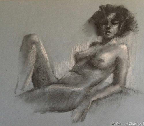 """Nude on Blue-Grey Paper"""