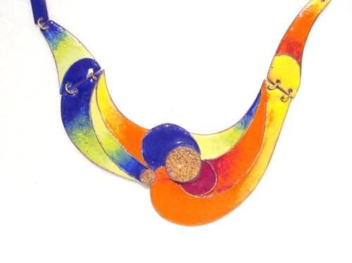 Cloisonne necklace with drusy quartz