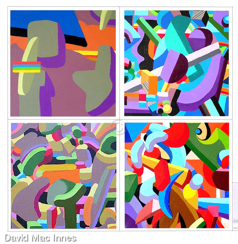 Four 'Construct' paintings