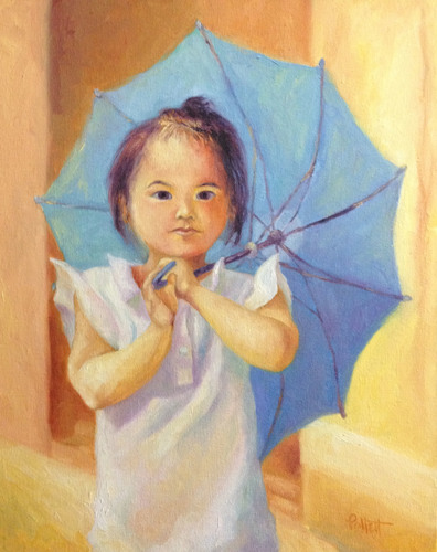 Girl with Blue Umbrella