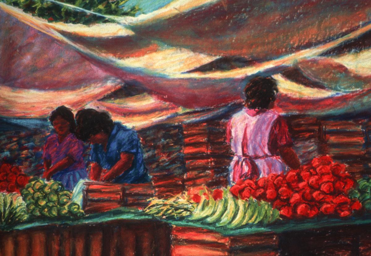 """""""Tepoztlan Market""""- Original SOLD (large view)"""