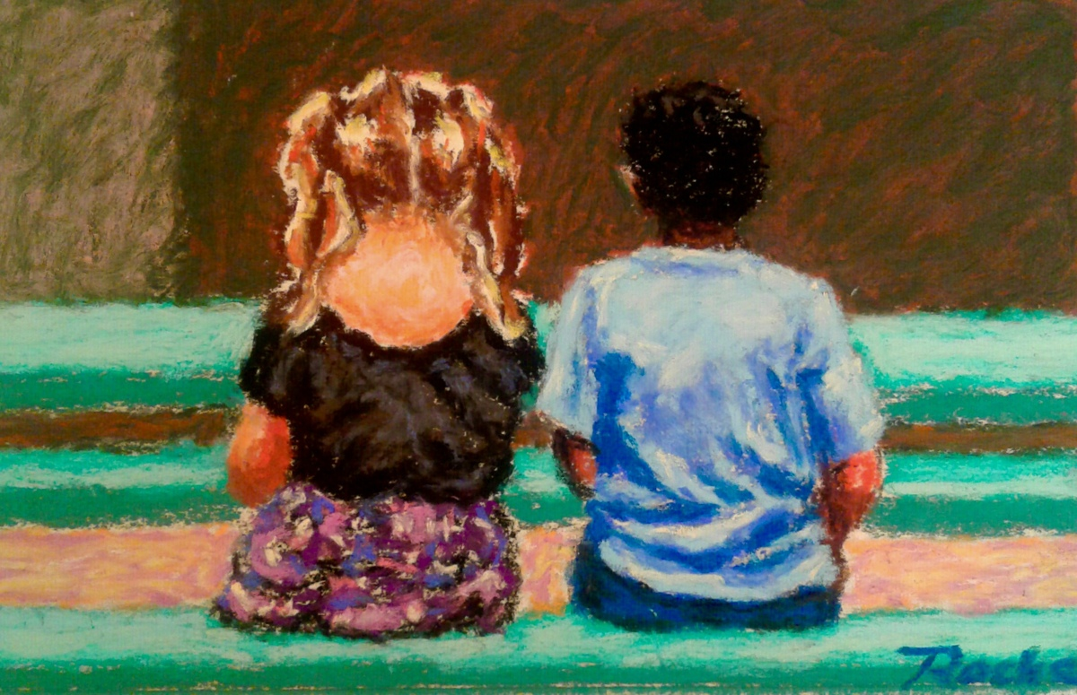 """Friends""- Original SOLD (large view)"