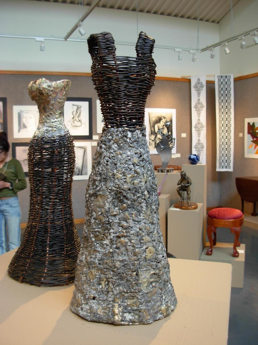 metal woven metal dress form sculptures original art. Black Bedroom Furniture Sets. Home Design Ideas