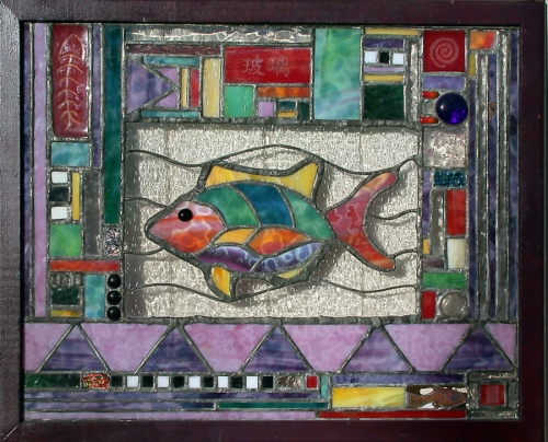 Folk Art Fish Stained Glass Panel