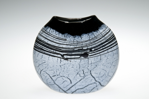 Handblown Black and White Crackle Art Glass Flat Vase