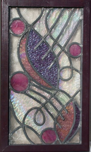Leaded Art Glass Stained Window Panel