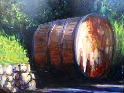 Wine barrel at Vignamaggio Winery