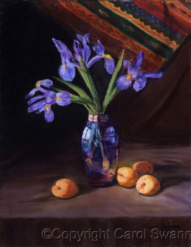 Iris & Apricots by Swann Fine Art