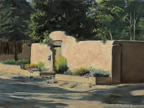 Adobe wall with flowers by Swann Fine Art