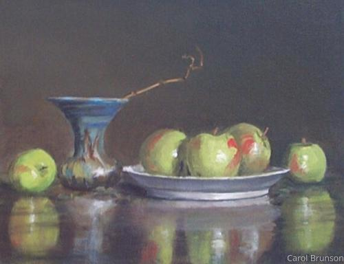 Green Apples and Vase