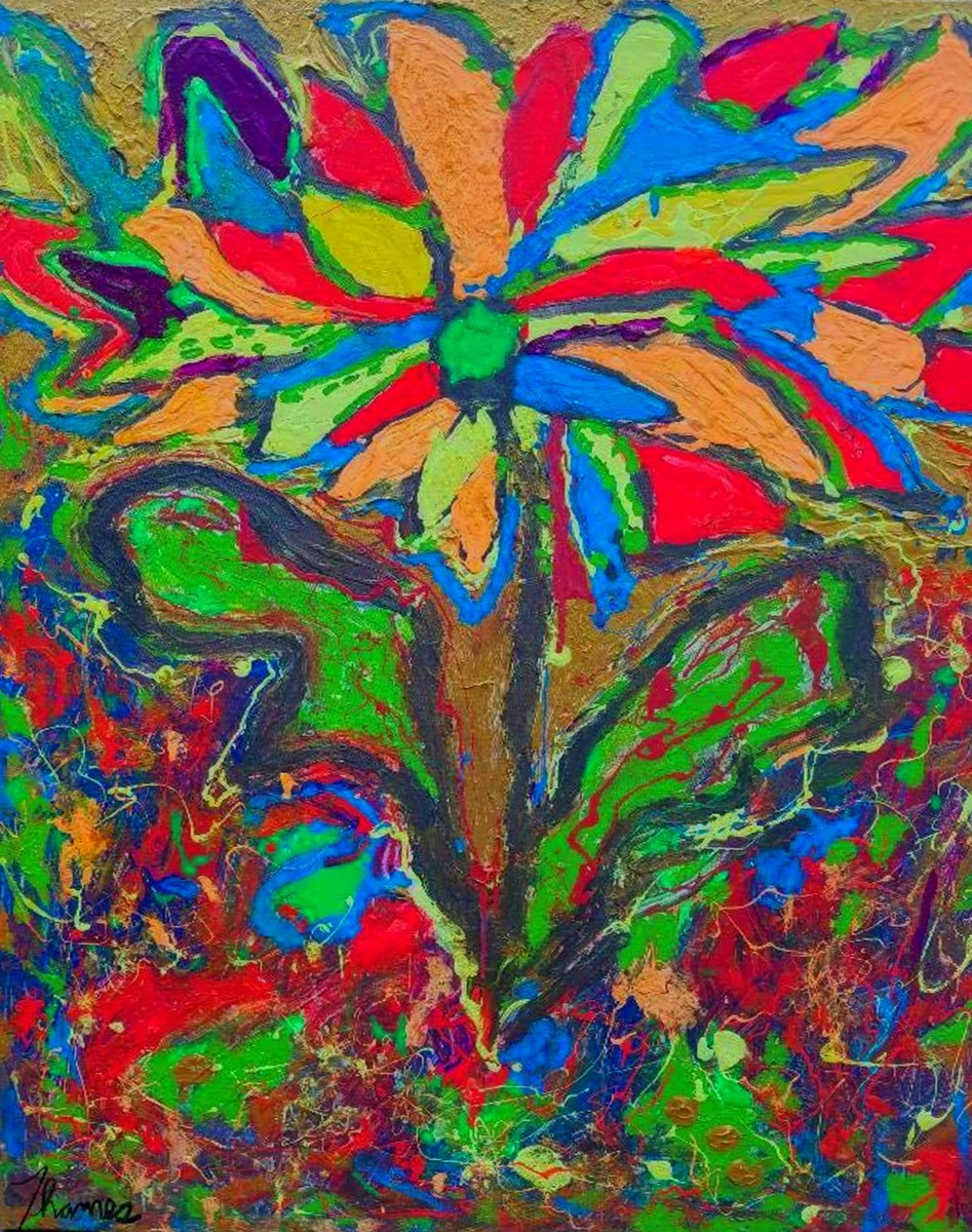 Abstract Acrylic Paintings Neon Flower By Famous Thames