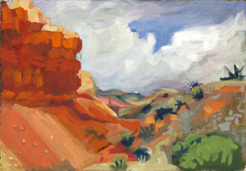 Orphan Mesa, Santa Fe gouache study 3
